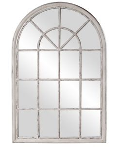 Arched Window Pane Mirror! Fenetre Arched Distressed Stone Grey Mirror