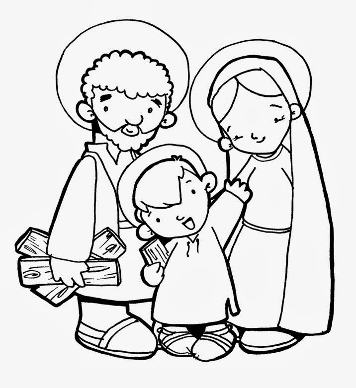 Dibujos Católicos - this site has coloring pages in Spanish and for Catholic church. Could be used for Savia Vida Real? (coloring page: La sagrada familia para colorear gratis)