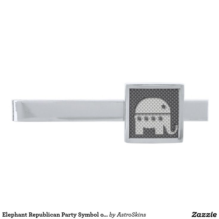 Elephant Republican Party Symbol on Kevlar Carbon Silver Finish Tie Clip