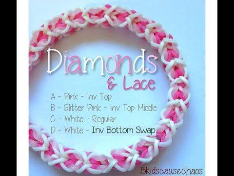 Diamonds & Lace Rainbow Loom Bracelet - YouTube