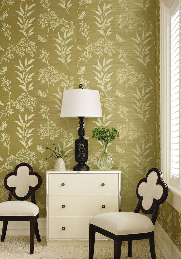 Grasses khaki green Grasscloth, Grasscloth wallpaper