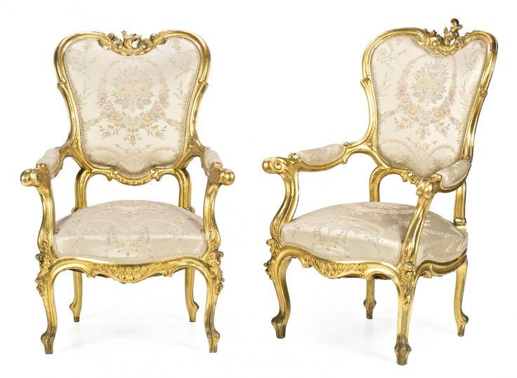 Juego de pareja de sillones sof seis sillas pareja de - Sillones antiguos restaurados ...