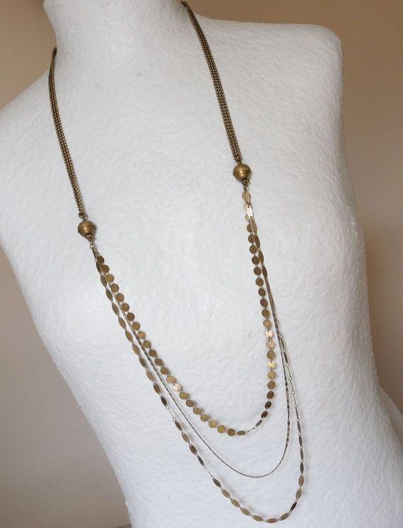Sautoir Gaby chaine, chainettes sequins et perles bronze