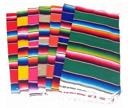 Mexican serape as a table runner & many more FABULOUS decoration ideas!!