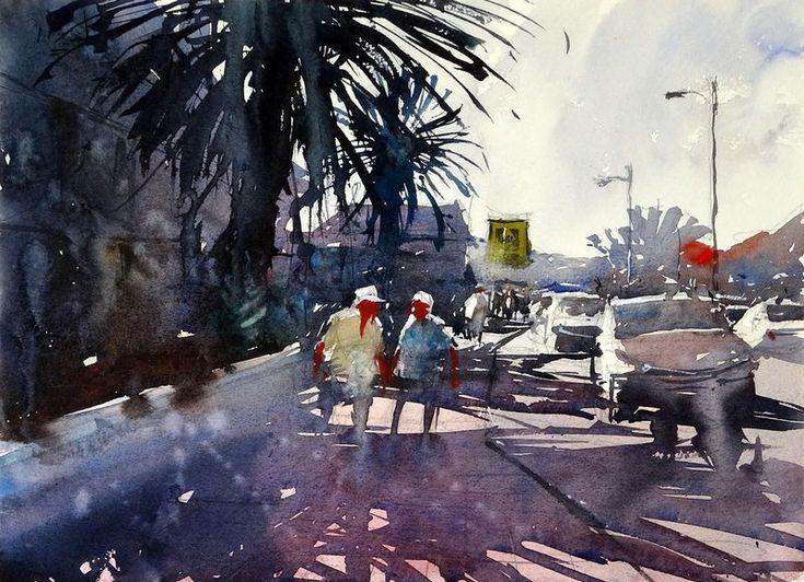 Corralejo, Fuerteventura, watercolor by Tim Wilmot