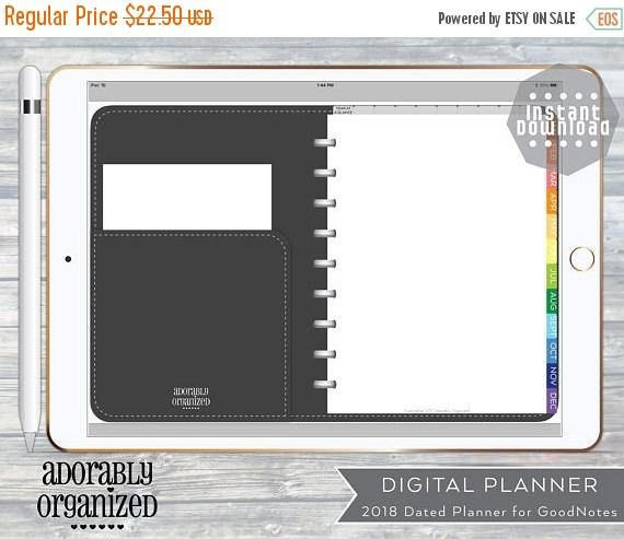 2018 DIGITAL PLANNER for GoodNotes, iPad,Dated with linked