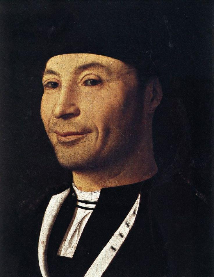 Antonello de Messine (vers 1430-1479) - Le portrait d'homme (vers 1470), huile sur bois (30x25cm). Musée de la fondation à Mandralisca. Connu également sous le nom de l'homme qui rit, le premier portrait depuis l'antiquité sur lequel le sujet est clairement en train de sourire ; une audace folle dans une société où la religion condamne ce genre de pratiques dans les représentations commanditées.