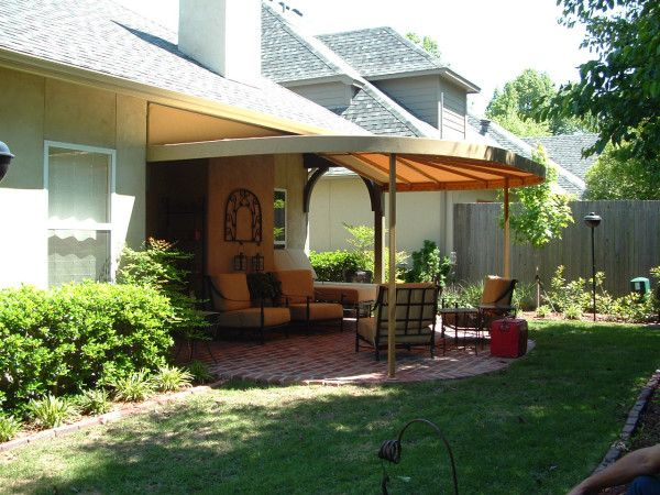 This Custom Patio Awning Creates An Outdoor Living Room. #AwningsOfTulsa