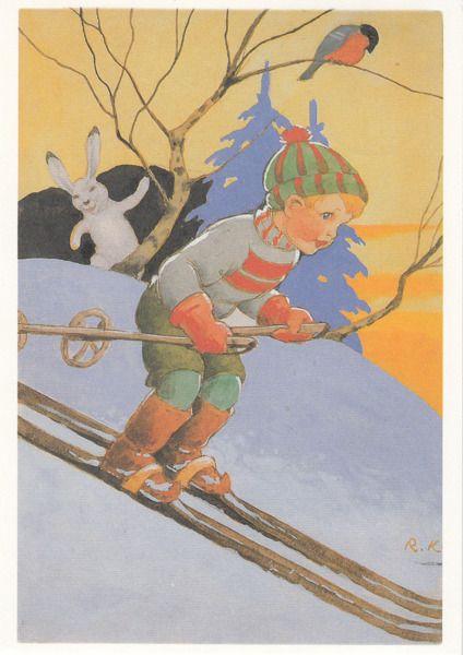 Vintage Ruldolf Koivu Christmas Card ~ Orange Details