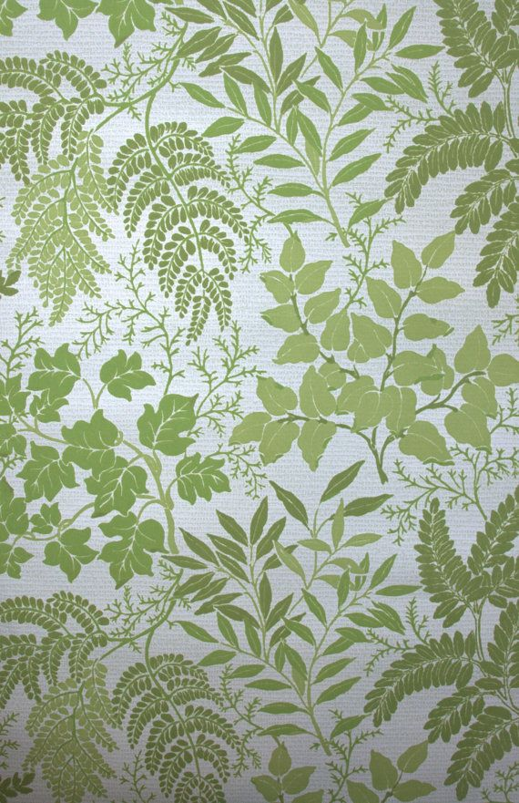 1970's Vintage Flocked Wallpaper with green ferns and leaves