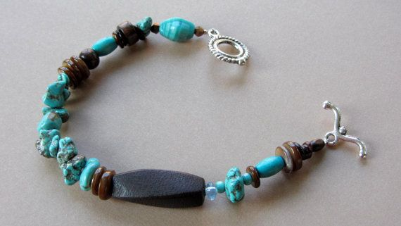 Turquoise and Brown Beaded Bracelet by AmarisJewelry on Etsy, $7.00
