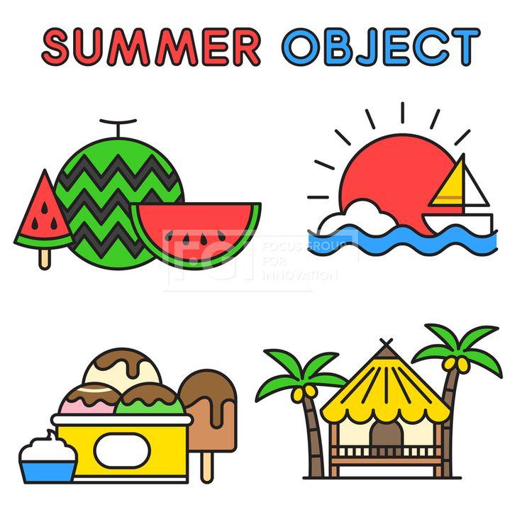 ILL195, 프리진, 일러스트, 여름, 계절, 시즌, 아이콘, 오브젝트, 단순, 심플, 더위, 무더위, 한여름, 모양, 세트, 묶음, 라인, 선, 수박, 과일, 음식, 시원한, 아이스크림, 간식, 디저트, 군것질, 태양, 햇빛, 해, 배, 보트, 선박, 구름, 날씨, 여행, 야외, 항해, 돛단배, 오두막, 원두막, 야자수, 코코넛, 열매, 나무, 식물, 집, 주거, 건물, 바다, 해변, 해변가, 휴식, 휴가, 바캉스, 휴양지, 여행지, 교통, #유토이미지