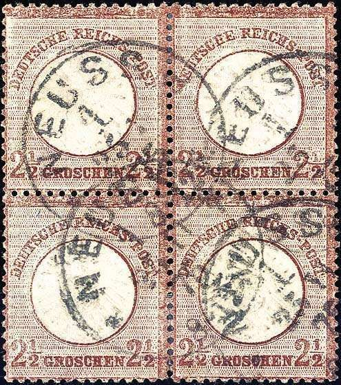 "2½ Gr. lilac brown, having bright colors block of four, choice copy with single circle postmark NEUSS 25 / 11 75. all stamps are well perforated and with nice embossing, below small Vortrennung. From this shade are only a few blocks of four registers, this besides late used in the november 1875 (Michel. +50%), certificate with photograph Krug BPP (""shields rarity!"") . (catalogue value: approximate 6. 750,-)  Dealer Württembergisches Auktionshaus  Auction Minimum Bid: 1500.00 EUR"