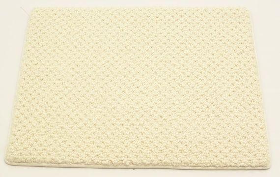"Wool Door Mat Custom Weave Area Rug, Millennium 2000, 14"" x 18"", Eggshell, 100% Solutia Wear-Deted Nylon on Etsy, $5.00"