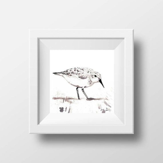 Art Print Sandpiper Bird Art Wine Painting Ink by DoniainArt