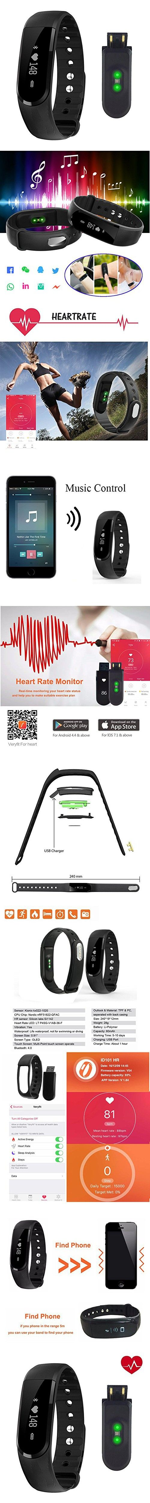 Heart Rate Fitness Tracker,CAMTOA ID101HR Wireless Fitness Monitor,Smart Bracelet,Bluetooth 4.0 Heart Rate monitor-Waterproof IP67,Sleep Monitor,Notification Alerts Wristband for Android IOS Phones