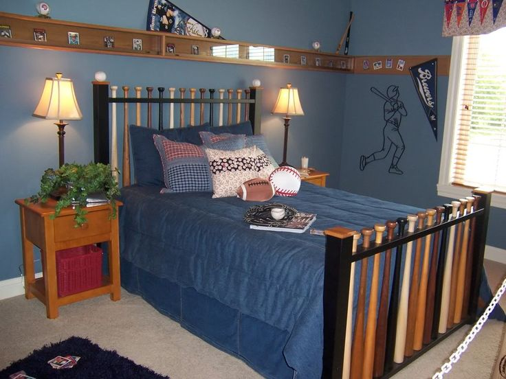 Love the baseball bat headboard/footboard.