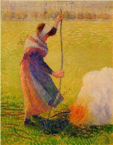 Mujer quema de madera - Camille Pissarro