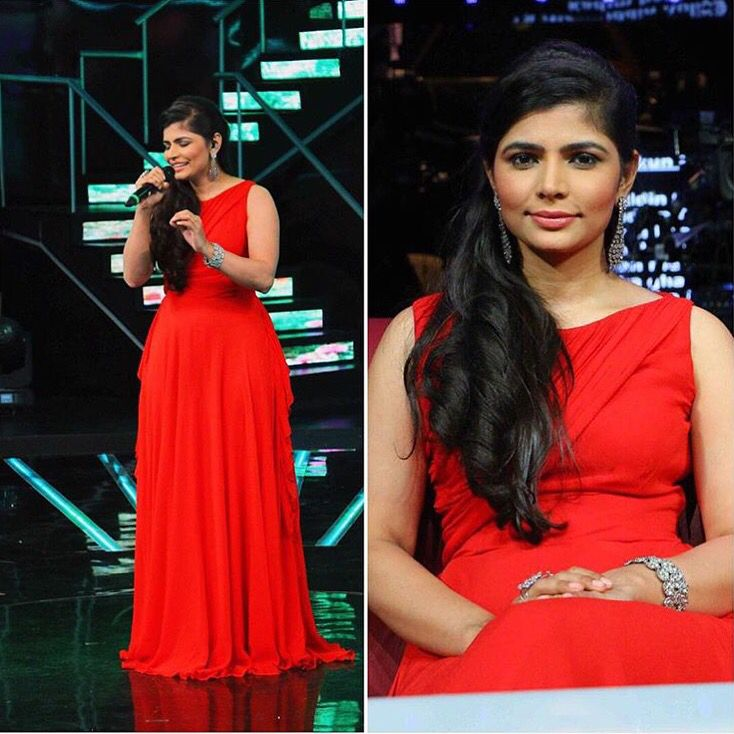 Chinmayi Sripada spotted in Swatee Singh Crimson Gown on the sets of #indianidol