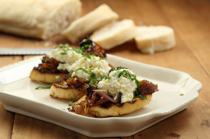 Warm Verjuice Ricotta on Ciabatta with Slow Roasted Onions - Maggie Beer