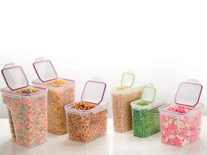 These are specifically intended for dry ingredients, like cereal. #Snapware