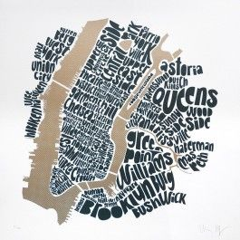 The Central New York City Type Map is the newest edition to our New York Art Prints collection.   This New York City Art Print is a linocut typographic NYC city map showing neighbourhoods within Manhattan, Brooklyn and Queens.