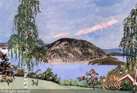Ferdinand Finne (1910 – 1999): Drøbak, watercolor