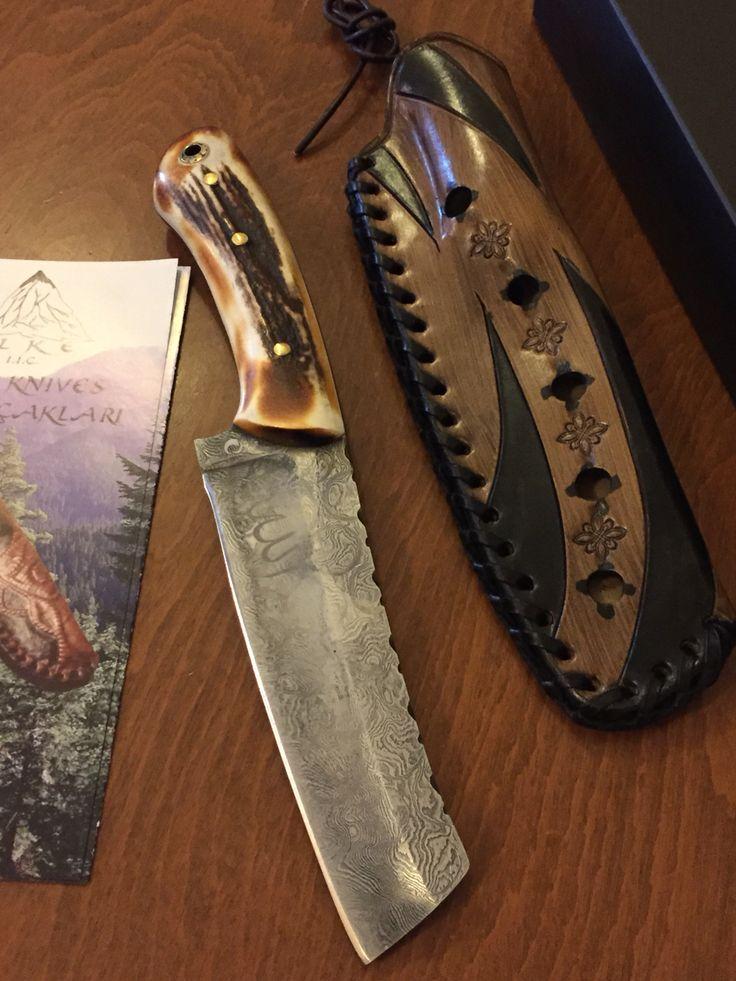 İlke Knives  İlke Bıçakları  1510L-SBdgb Damascus KızılGeyik Boynuz www.ilkeknives.com