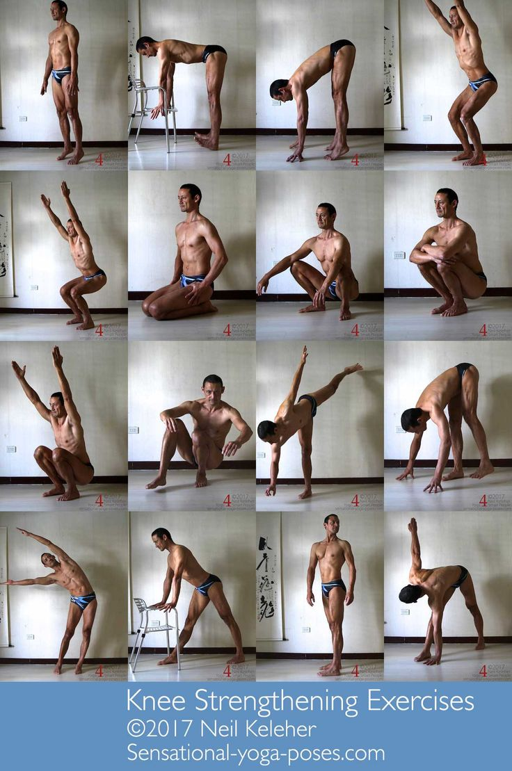 A selection of poses for strengthening the knees. The key is to actually activate the knees while doing them. http://sensational-yoga-poses.com/knee-strengthening-exercises.html.