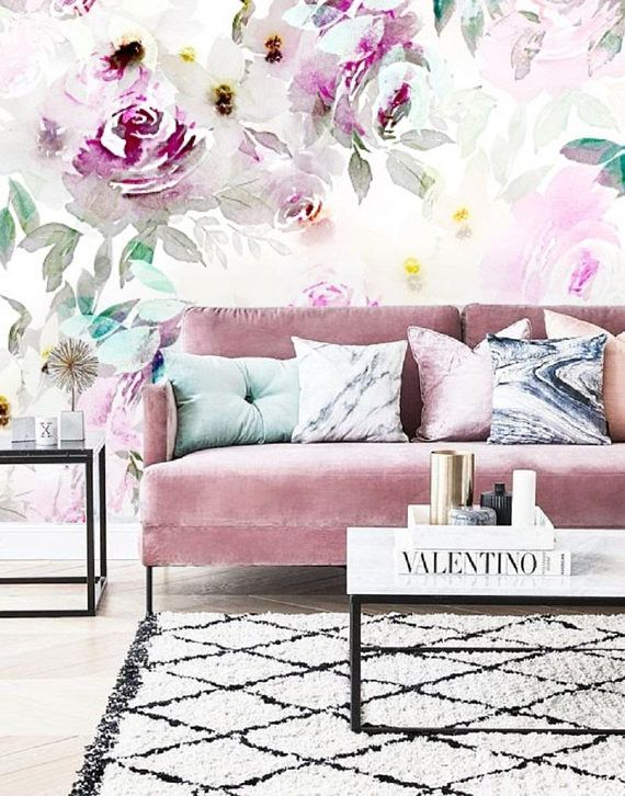 Floral Wall Mural Peel Stick Wall Paper Floral Watercolour Mural Wallpaper Removable Self Adhesive Wallpaper Floral Wallpaper Vintage 122 Nursery Wall Murals Removable Wallpaper Wallpaper Accent Wall