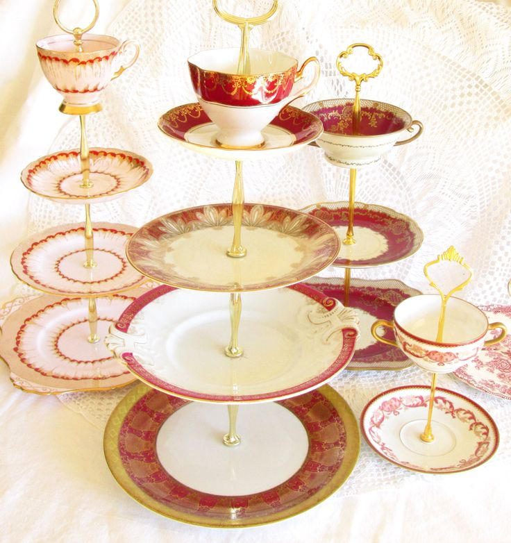 Red & Gold 4-Tier Tea Tray Stand, Cupcake Tower Display, Cake Plate, Dessert Centerpiece with Teacup Cup and Saucer By High Tea for Alice by HighTeaForAlice on Etsy