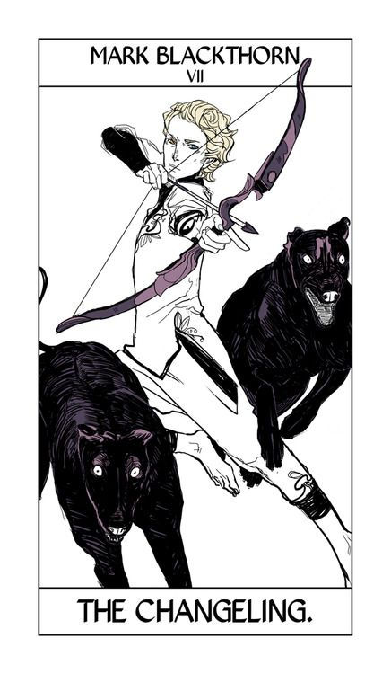 Mark Blackthorn of the Dark Artifices takes the Chariot card, here called the Changeling. Mark has fey blood like his sister Aline, both of whom you'll see in City of Heavenly Fire. He's carrying a kind of bow and arrow known in mythology as an elf-arrow or elf-bolt. -cassieclare