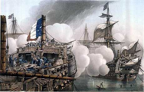 The French ship Tonnant battling with HMS Majestic.  Other than Culloden, the only British ships seriously damaged in their hulls were Bellerophon, Majestic and Vanguard, while Bellerophon and Majestic were the only ships to lose masts: Majestic the main and mizzen and Bellerophon all three.