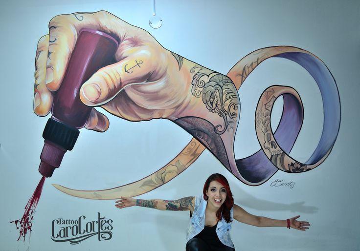 CARO CORTES MURAL Caro cortes Colombian tattoo artist. http://carocortes.tumblr.com/ http://www.carocortes.com/ #carocortes #mural #muralpainting #tatuadora #carocortestattoo