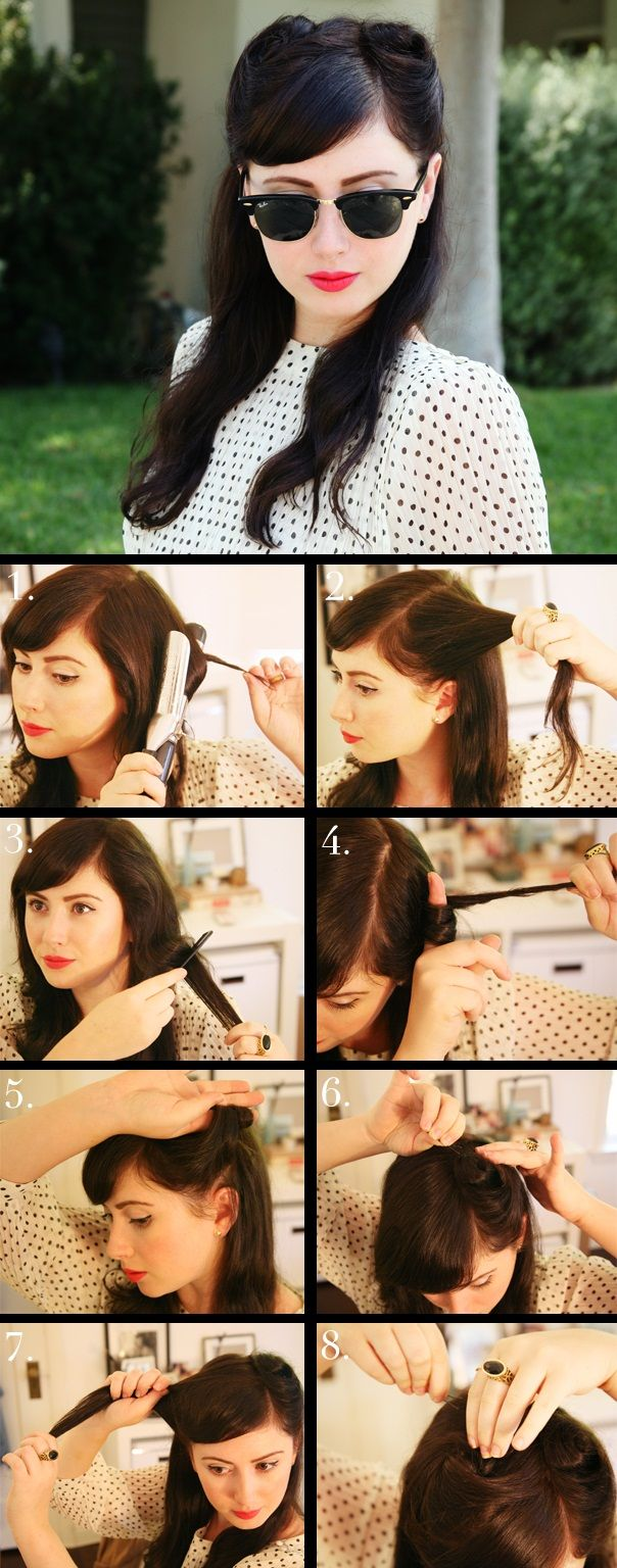 the victory roll hair style from 1940s. I'm going to try this. It LOOKS simple.. But I'm pretty horrible with hair..