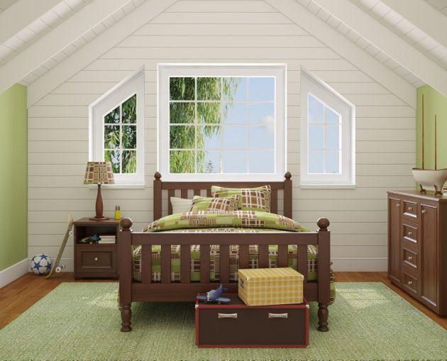 Attic Room Curtains And Attic Modern Bookshelves In 2020 Attic Renovation Attic Rooms Attic Bedroom