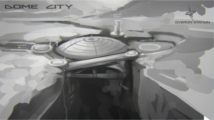 Early sketch of the Dome City's location in our upcoming sci-fi adventure game with puzzles and mysteries
