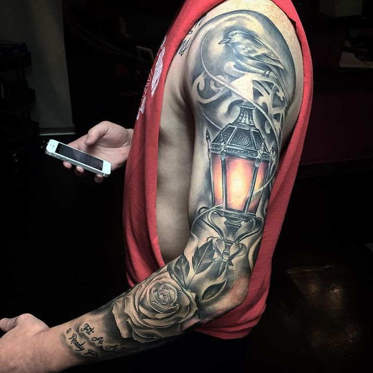 tattoo sleeve lantern and crown by Mike Soria