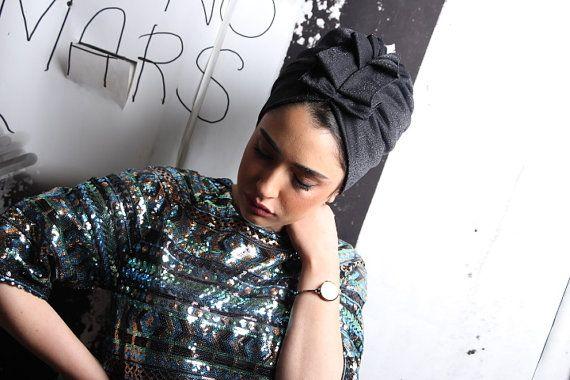 black turbansparkling turanturban hathead by RonaHandmadeTurbans black turban,sparkling turan,turban hat,head cover,Chemo hat,women's turban,hijab,fashion hair wrap,hair bands,hair turban,head scarves