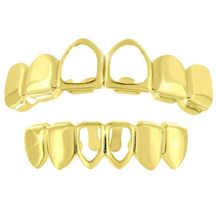 Top Bottom Teeth Grillz 14k Yellow Finish Halloween Sale