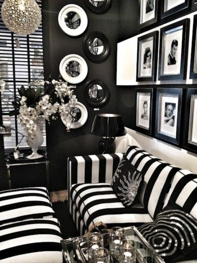 Black and white fab living room decor pinterest Black and white room decor