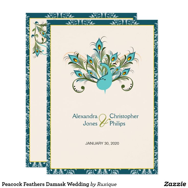 Peacock Feathers Damask Wedding Card