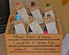 Fun wedding gift idea - bottle of wine for certain nights/occasions - (Ex. First Dinner Party, First Baby, First Christmas, First Fight...) Love it!  -Made this for my bestie's bridal shower.  I added a few extras to the wine o personalize it a bit. It was fun to make and turned out cute- even though 2 others had the same idea :)