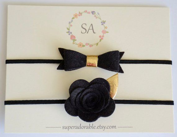 Felt Bow Headband in Black Gold Metallic or CHOOSE your COLOR - Newborn  Headband 3212d5e864b