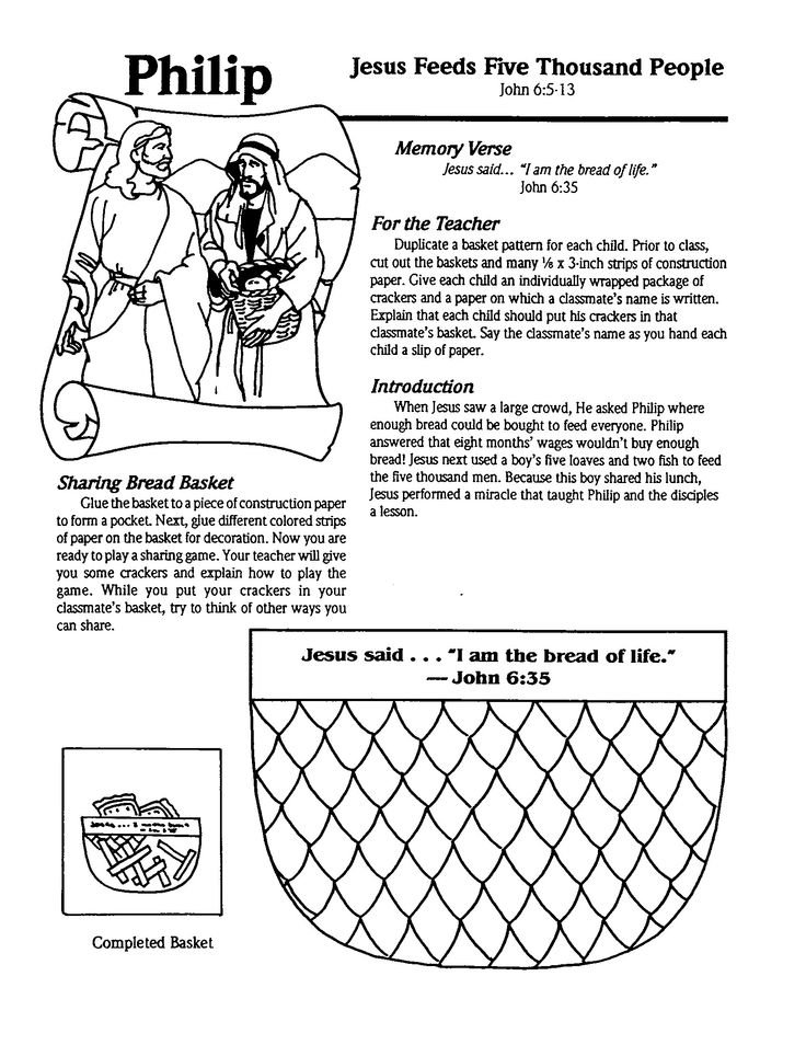Jesus Feeds 5000 Coloring Pages