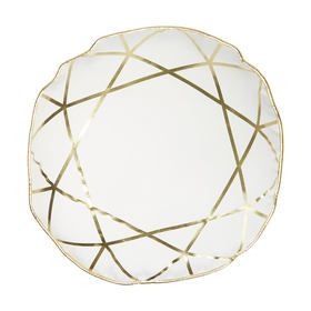 Diamond Pattern Cushion - White & Gold
