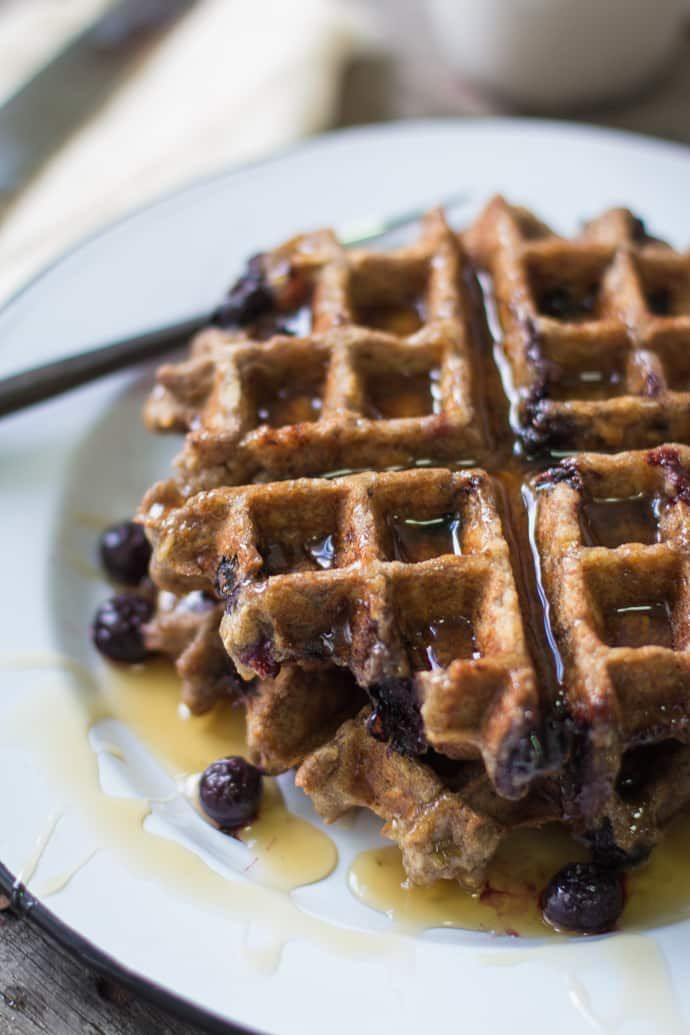 These Vegan Blueberry Oatmeal Waffles are delicious, easy to make, a lighter, healthier alternative to regular waffles!