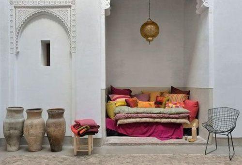 Cozy Moroccan nook and some gorgeous antique garden pots. #Moroccan #Nook.