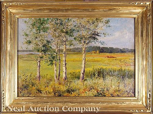 """Charles Francis Browne (American, 1859-1920), """"Poplars, Bass Lake, Indiana"""", oil on canvas, signed lower right, titled and framer's label en verso, 16 1/4 in. x 16 1/4 in., Newcomb-Macklin frame"""