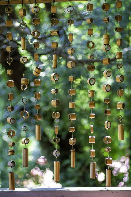 Bamboo Wind Chimes by olvwu, via Flickr. Also could make a door curtain in this style
